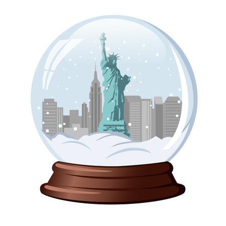 snow globe The statue of liberty Vetores