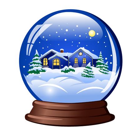 snow globe house within Vetores