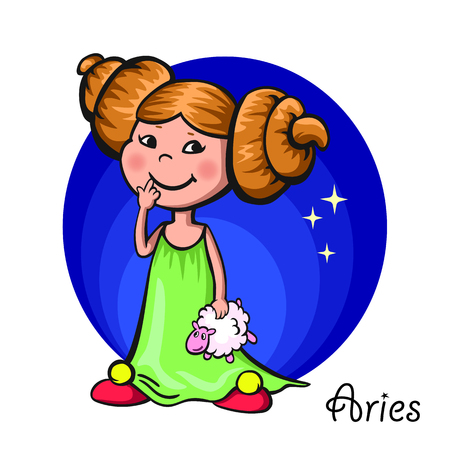 baby playing toy: zodiac signs Illustration