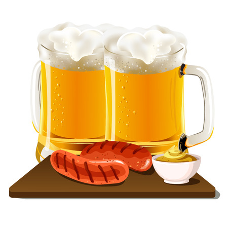 Glasses of beer with sausage & mustard on wooden bred