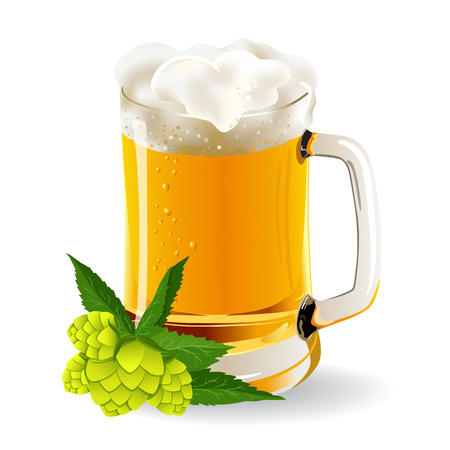 frothy: glass of beer with hop cones Illustration