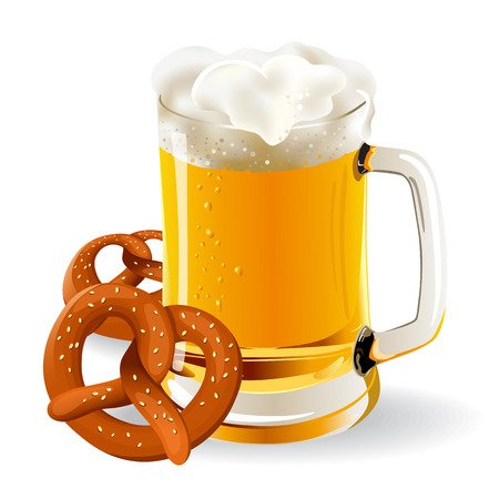 frothy: glass of beer with pretzels