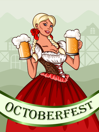 bavarian girl: Octoberfest bavarian girl with glasses of beer Illustration