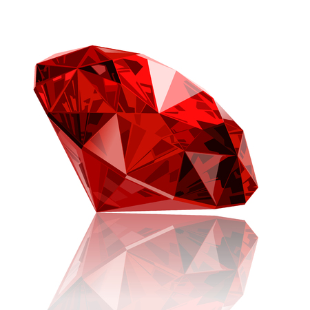 mineral: realistic vector ruby ??gemstone Illustration