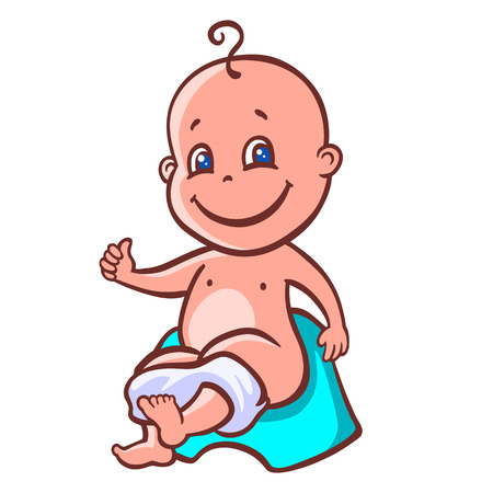 chamber pot: cute baby sitting on a chamber pot
