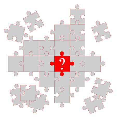 white puzzle piece with the red one in the center Illustration