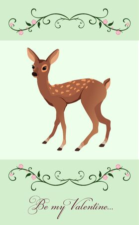 valentine card with a little fawn