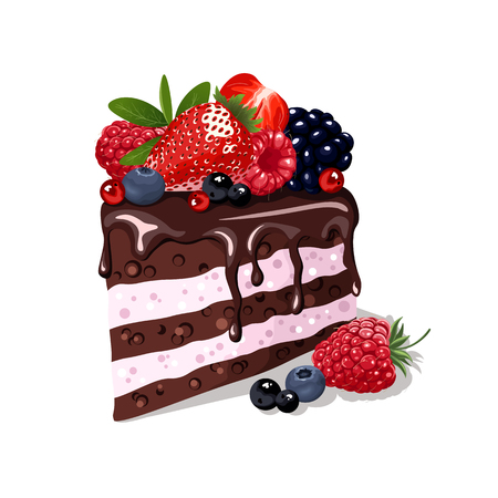 trozo de pastel: Piece of chocolate cake with fresh berries