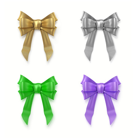 3D illustration of set of colorful bows Stock Photo