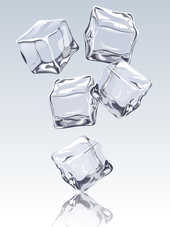 refrigerate: Falling ice cubes