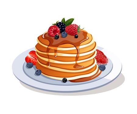 Pancake con bacche fresche e sciroppo d'acero Archivio Fotografico - 76878779