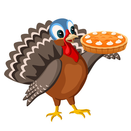 thanksgiving turkey with pumpkin pie Illustration