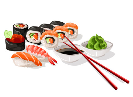 sushi and sashimi set Иллюстрация