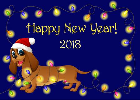 Fun dog with Christmas lights