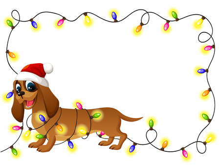 Fun dog with Christmas lights