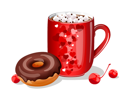cup of hot chocolate with marshmellow and chocolate donut