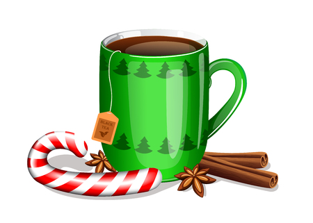 cup of tea with christmas candy cane, cinnamon sticks and anise stars