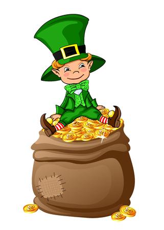 Cute leprechaun sitting on the bag full of coins. St. Patricks Day