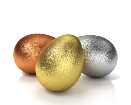 Three Easter Eggs. Golden, Silver And Bronze 3D Illustration