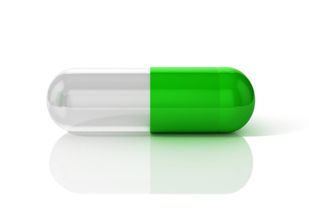 3D Illustration of capsule pill in green and transparent combination