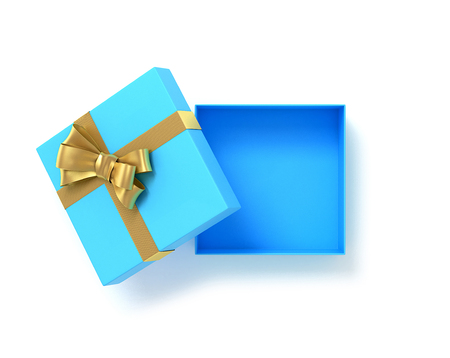 Open blue gift box top view with bow ribbon. 3D Illustration.