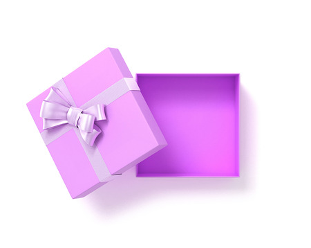 Open pink gift box top view with bow ribbon. 3D Illustration.