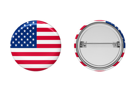 Badge. American flag pin button front and back view. 3D Illustration.
