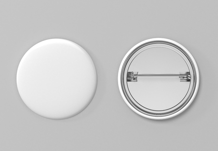 Badge. Blank white pin button. 3D Illustration. Banco de Imagens - 103457404