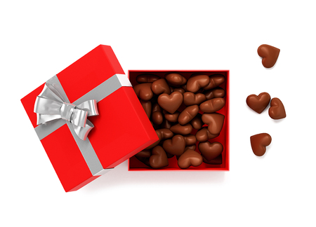 Open red gift box with chocolate hearts inside. 3D Illustration.