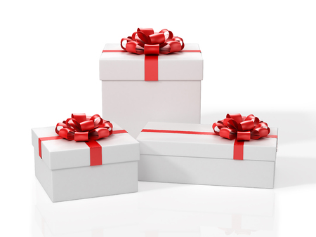 Three White Gift Boxes With Red Bow. 3D Illustration.