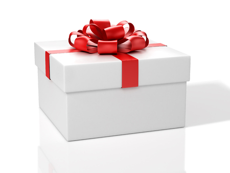 White Gift Box With Red Bow.3D Illustration.