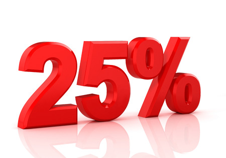 25 percent off. Discount 25%. 3D illustration on white background.
