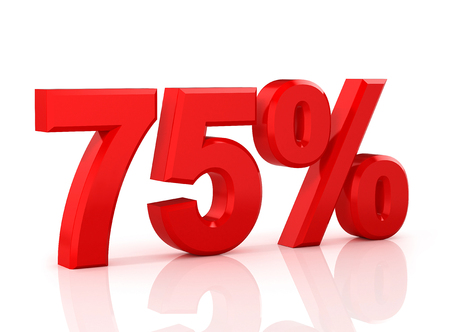 75 percent off. Discount 75%. 3D illustration on white background.