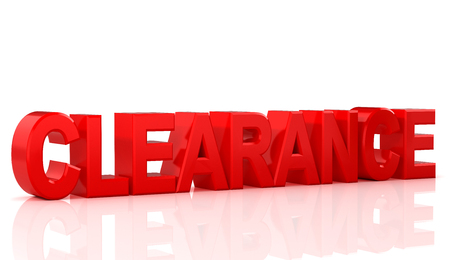 Word clearance on white background. 3D Illustration.
