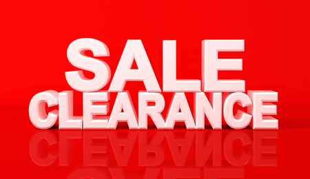 Word sale and clearance on red background. 3D Illustration.