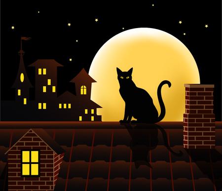 Gatto sul tetto. Illustrazione vettoriale.