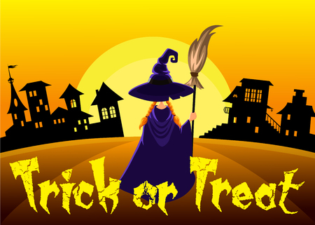Little Halloween witch. Trick or treat. Vector illustration.