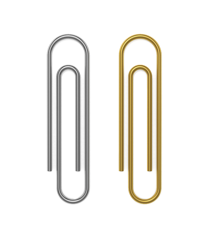 Silver and golden paper clips. 3D Illustration. Reklamní fotografie - 111829414