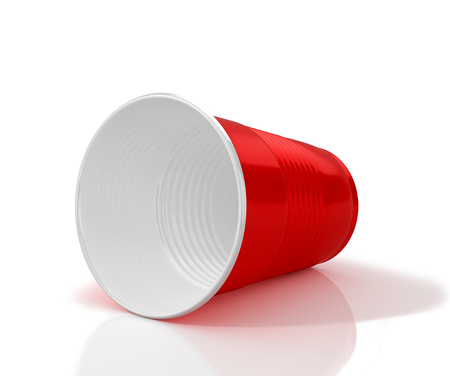 Lying horizontally red plastic cup. 3D illustration