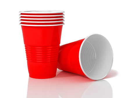Stack of red plastic cups. 3D illustration Standard-Bild - 111829419