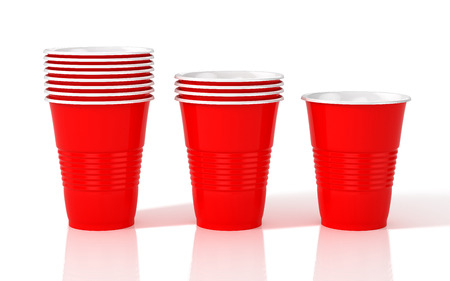 Stack of red plastic cups. 3D illustration