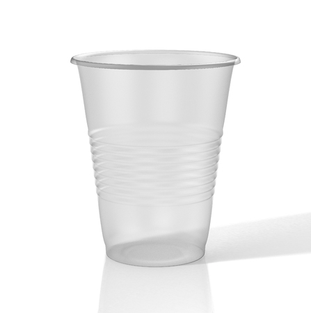 Transparent plastic cup. 3D illustration
