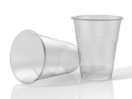 Two transparent plastic cups. 3D illustration Standard-Bild - 111829426