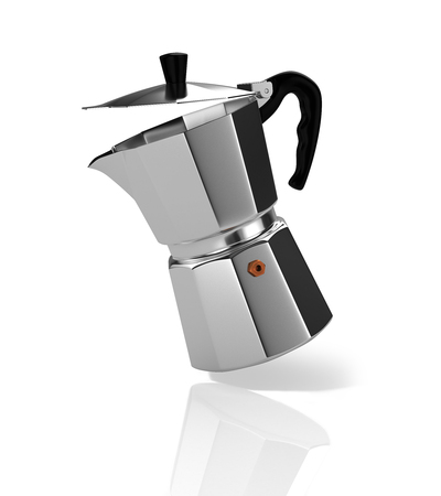 Falling Italian coffee maker. 3D Illustration.
