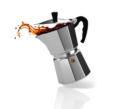Italian coffee maker with a coffee splash. 3D Illustration.