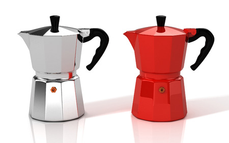 Silver and red Italian coffee makers. 3D Illustration. Фото со стока