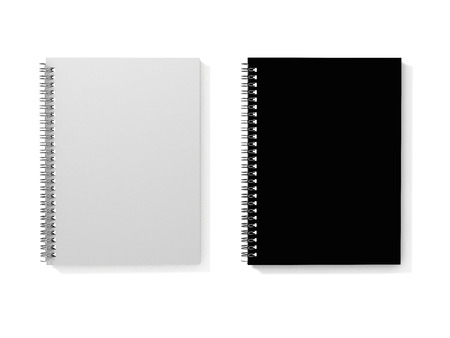 Top view on white and black spiral notebooks. 3D Illustration.