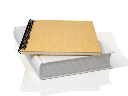 White book and spiral notebook. 3D Illustration. Reklamní fotografie - 111829432