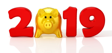 New Year 2019. Design concept with yellow glossy piggy bank. 3D Illustration.