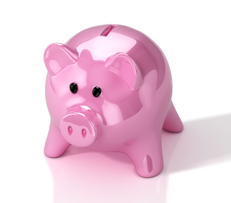 Pink glossy piggy bank. 3D Illustration. Фото со стока